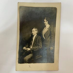 Other - Antique Edwardian RPPC Woman in Suit Postcard